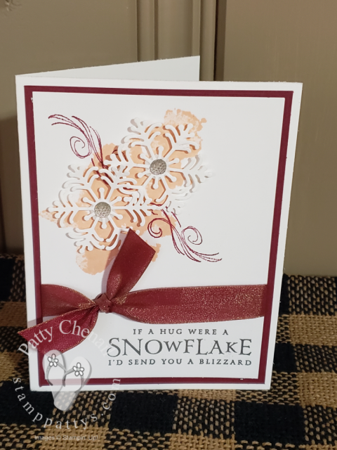 Snow Blizzard holiday card using merry merlot, petal pink, and silver foil