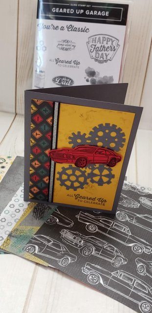 Classic Garage Product Suite from the Occasions 2019 catalog.  Includes Geared Up Garage stamp set, framelits, classic garage metal elements, metallic ribbon too!