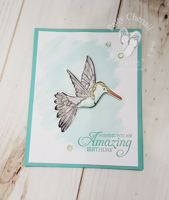 Humming Along bundle showcasing the beautiful hummingbird with watercoloring techniques using Stampin' Blends