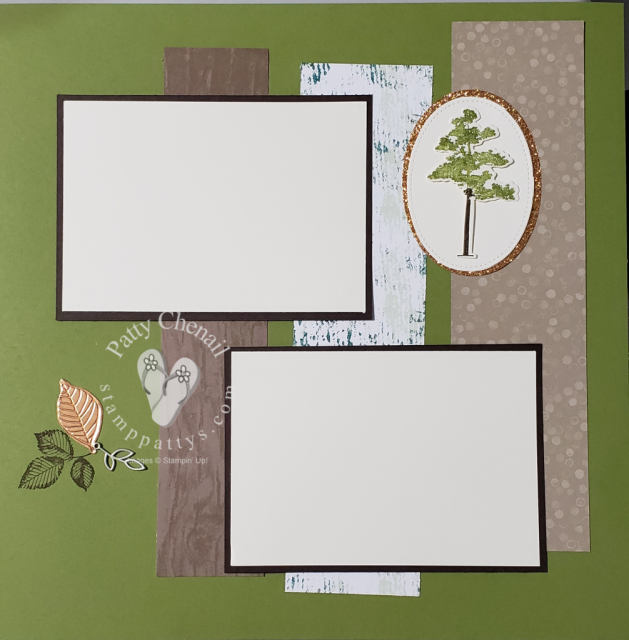 Using stamps in scrapbooking. Rooted In Nature along with Wood Textures paper create this fabulous two-page layout.