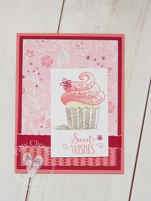 Hello Cupcake available for free until March 31, 2019 through Stampin' Up!'s Sale-a-bration promotion. Spend $50 before shipping and get this stamp set free!