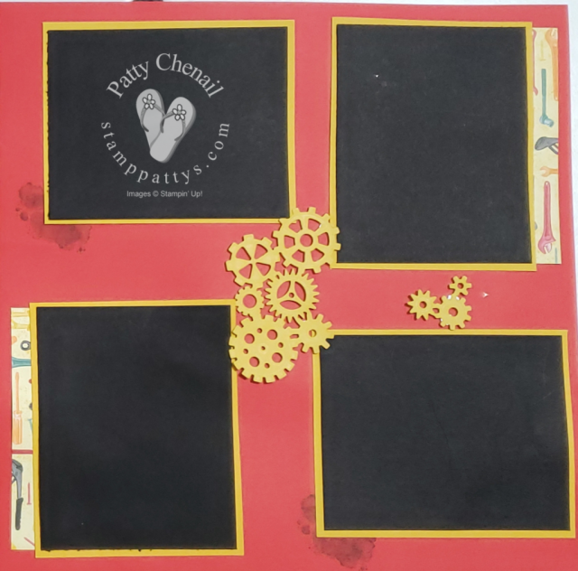 Think outside the box.  Stamps are not just for making cards.  How about scrapbook pages?  I used the Geared Up Garage bundle to do just that!