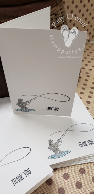 Simple thank you notes created using the Best Catch stamp set from the 2019 Occasions catalog.