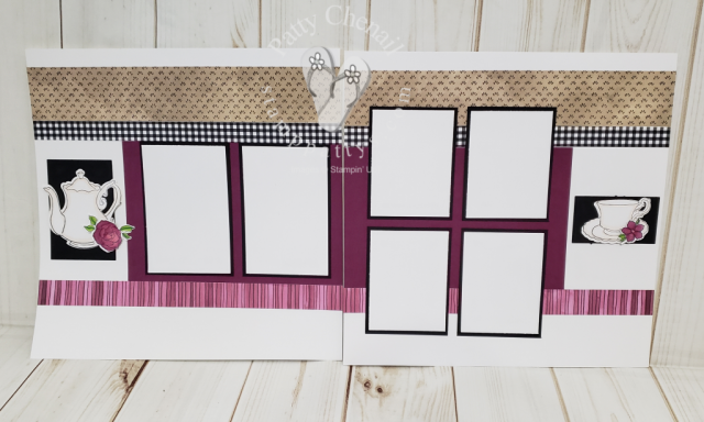A scrapbook layout featuring the Tea Time stamp set and coordinating framelits available for free during Saleabration 2019.