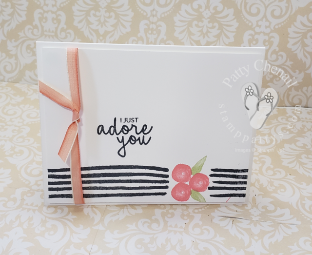 This is the epitome of simple stamping.  White cardstock and three ink colors and you have a beautiful creation that is great for any occasion.