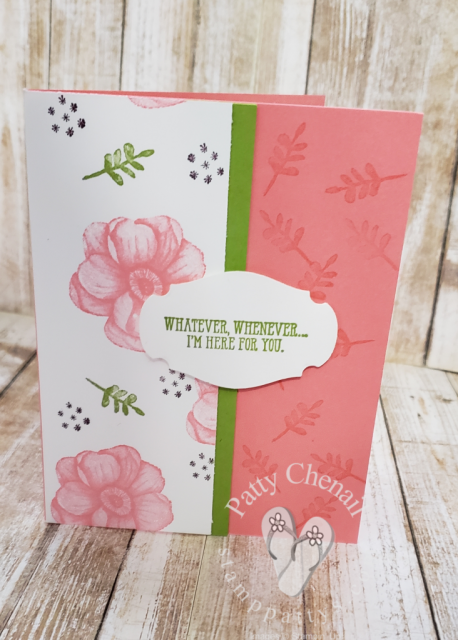 Create enough background paper to create 7 projects using one sheet of whisper white cardstock and your favorite stamp set.  I used the new Painted Seasons distinctive stamps!