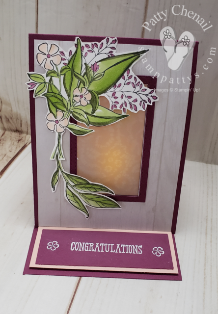 Check out this step-by-step video to see how to create this light up easel card using the Floral Romance Bundle from Stampin' Up!'s Occasions 2019 catalog!