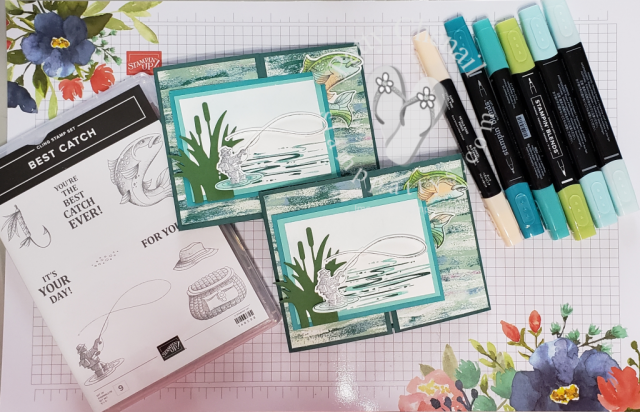 """Best Catch stamp bundle from the Occasions 2019 catalog along with Stampin' Blends to create this beauty.  Be sure to watch the """"how to"""" video so you can recreate."""