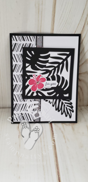 Tropical Chic stamp set done in black and white with a pop of lovely lipstick for a bit of color.