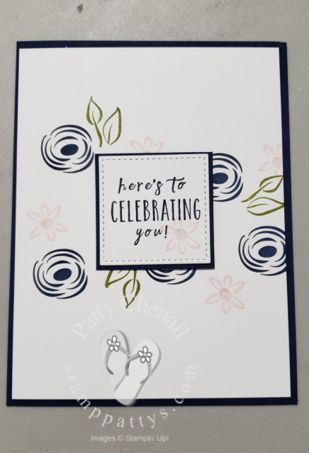 Clean and simple stamping card using only two cardstock colors, 3 ink colors, one stamp set, and a paper cutter!