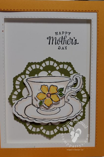 Using the Tea Together and Tea Time Framelits I created these great cards good for mother's day or anyone you is a tea-totaller in your life!
