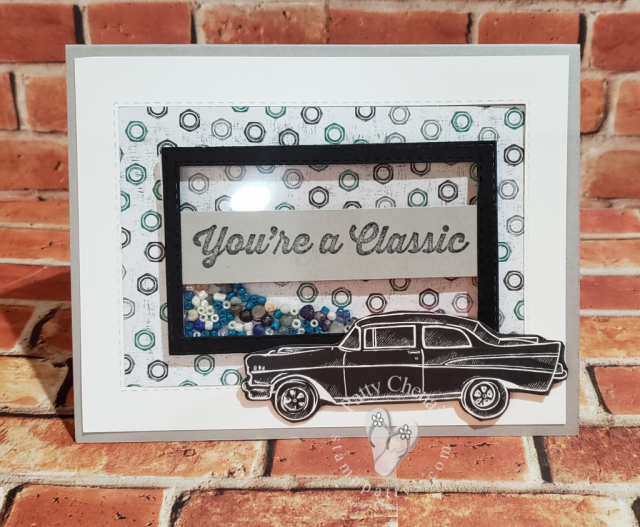 using the Geared UP Garage bundle and some supplies from the Annual catalog I created this awesome shaker card that is great for any car enthusiast on your list!
