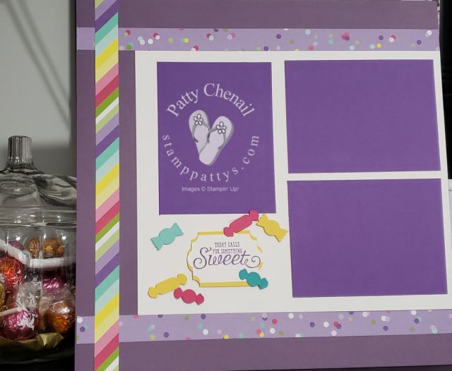 Using the Sweetest Thing Bundle from Stampin' UP! this adorable scrapbook layout was created for my sweet club members!
