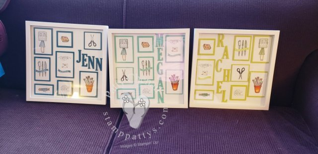 Home Decor pieces showcasing the Crafting Forever stamp set from the 2018-2019 Annual Stampin' Up! Catalog.  This makes a great show piece for any crafter's personal space!