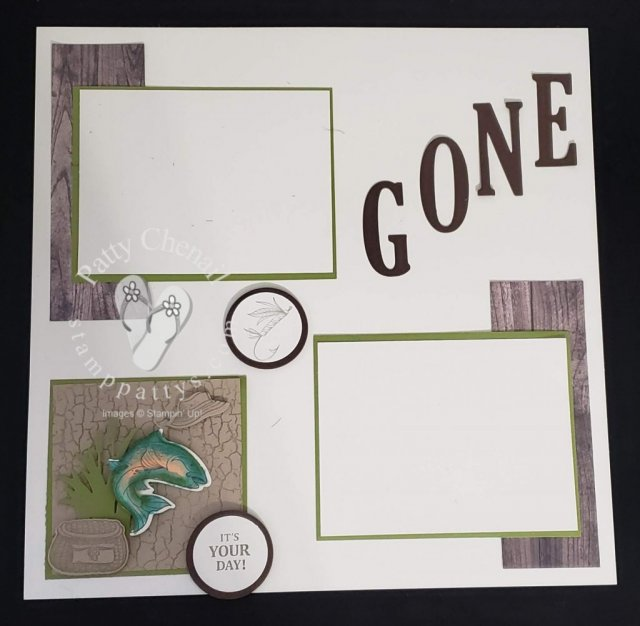 Created this awesome spring layout using the Best catch bundle from Stampin' Up!'s Occasions 2019 catalog.