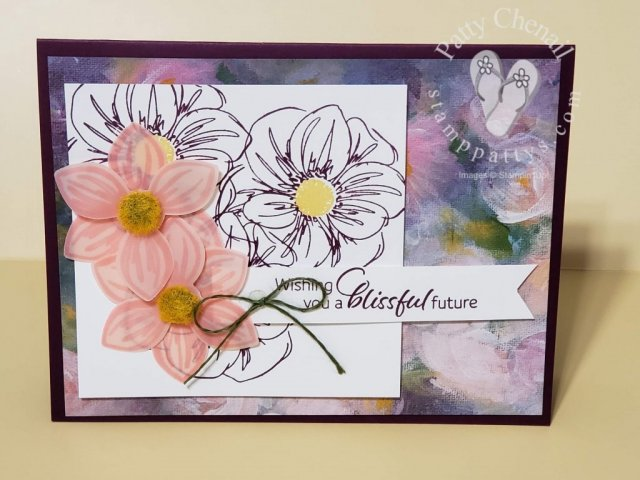 Using all of the products from the floral essence product suite in this one card was so easy to do!