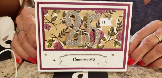 Share what you love DSP meets the Large Numbers and Duet Banner Punch to create this beautiful anniversary card.