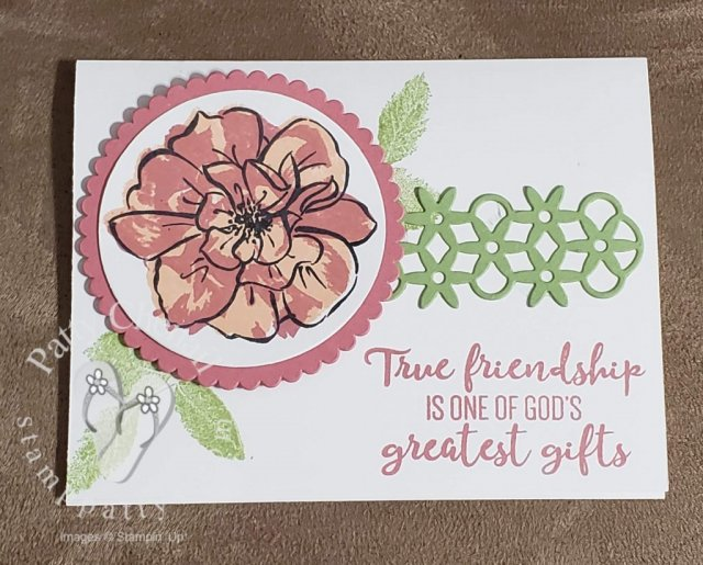 "I created this card using the ""To A Wild Rose"" product bundle from the Stampin' Up! 2019-2020 Annual Catalog Pg 141  The bundle includes a 13 piece photopolymer stamp set and coordinating framelits!"