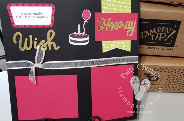 Broadway Birthday shows an alternate use for your Paper Pumpkin kit.  I used the kit and the Broadway Birthday stamp set and Broadway Lights dies from the 2019-2020 annual catalog to create this scrapbook page!