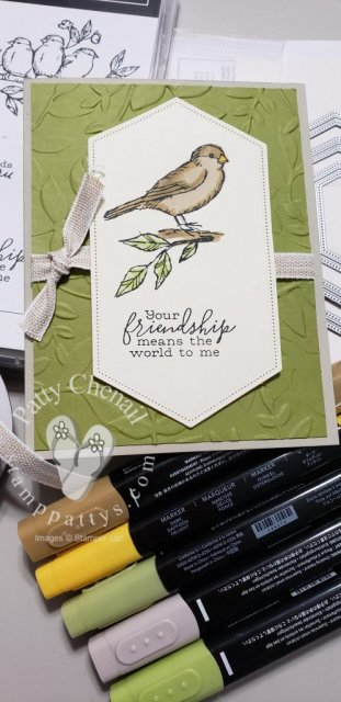 Free As A Bird stamp set from Stampin' Up! combined with the Nestled Label Dies and five of our Stampin' Blends created this beautiful card!
