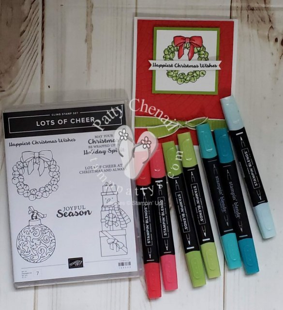 Lots of Cheer Stamp set is perfect for coloring with our Stampin' Blends!  All you need is some white cardstock, momento ink, and two sets of blends for this project!