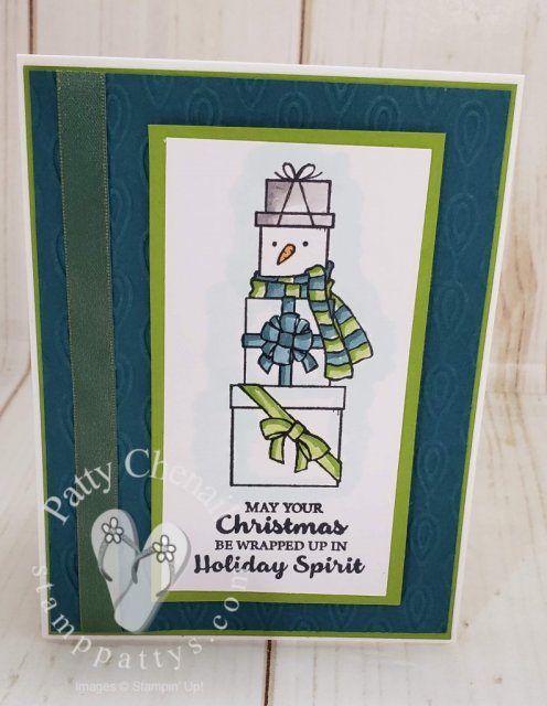Adorable snowman created from the Lots of Cheer stamp set from Stampin' Up! and made beautiful using our Stampin' Blend markers!
