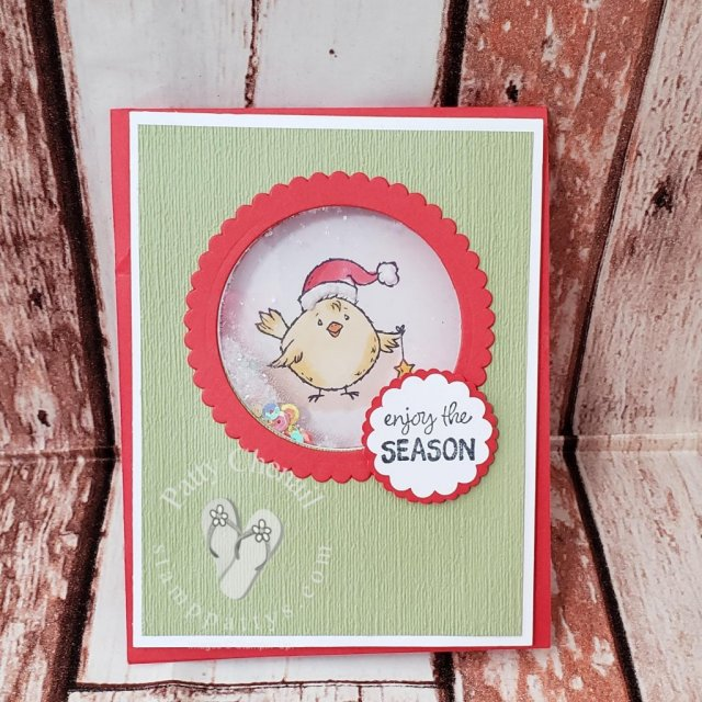 Christmas shaker card using the Birds of a Feather stamp set excusively from the 2019 Stampin' Up! Holiday Catalog.