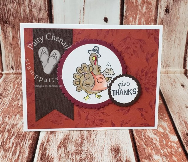 Happy Turkey Day using the Birds of a Feather stamp set excusively from the 2019 Stampin' Up! Holiday Catalog.