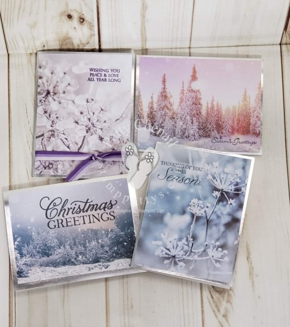 Using the Feels Like Frost designer paper and the silver rimmed cards from Stampin' Up! I created a beautiful assortment of holiday cards in a flash! Just add your favorite holiday or other greeting and you are good to go!