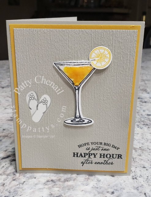 I love when a combination of stamp sets can be used to create fabulous projects. This beauty uses the Cheers to That and the Sip, Sip, Hooray bundles from Stampin' Up!