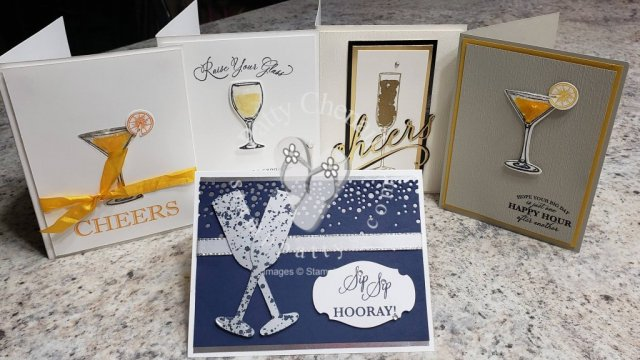 I love when a combination of stamp sets can be used to create fabulous projects. This beauty uses the Cheers to That and the Sip, Sip, Hooray bundles from Stampin' Up! Cheers to the Bride and Groom!