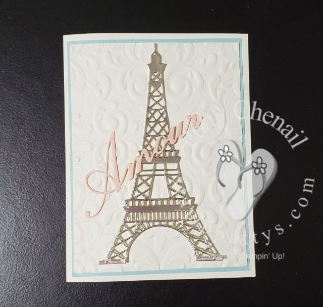 Using the Parisian Blossoms product suite, champagne foil paper, and our subtles cardstock pack, you can recreate this and MANY other projects! visit my online store links to get your materials now!