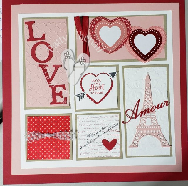 The From My Heart product Suite from Stampin' Up! along with the Parisian Blossoms suite is what is used to create this work of HEart!