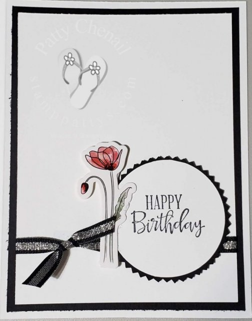 Using the Poppy Elements that coordinate with the Painted Poppies product suite from Stampin' Up! I created a simple but beautiful birthday card.