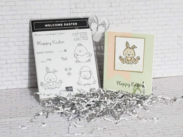 Welcome Easter and happy Spring! My adorable little bunny is part of the stamp set called, Welcome Easter. Is is available until June2 from Stampin' up! Not to worry, it isn't only for Easter. It is great for baby cards and even birthday cards for all the littles in your life!