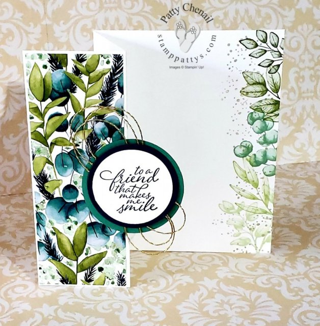 #simplestamping using the Forever Fern stamp set available from Stampin' Up! beginning June 3, 2020. Stamps, ink, paper, a couple of punches and some designer series paper created this masterpiece!